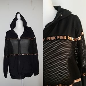 VS PINK Black Hoodie Nylon Fishnet EUC